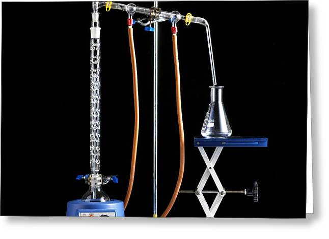 Condenser Greeting Cards - Fractional Distillation Apparatus Greeting Card by