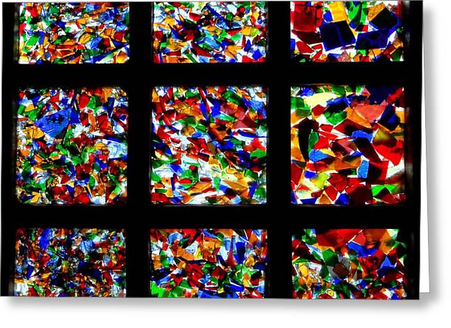 Fantasy Glass Greeting Cards - Fractured Squares Greeting Card by Meandering Photography