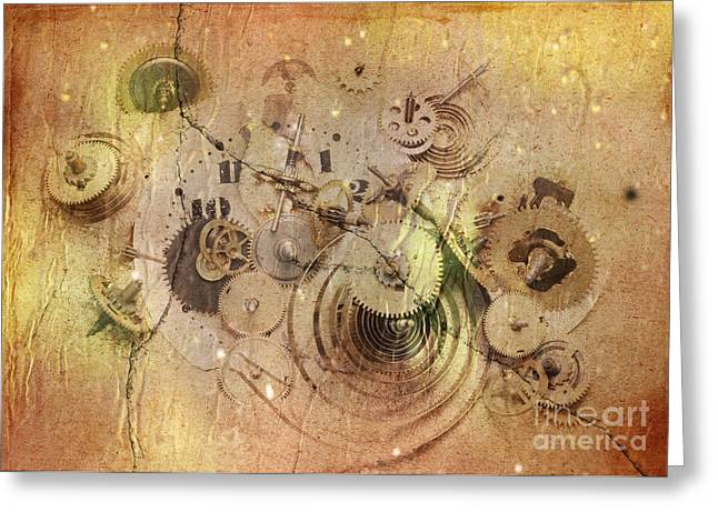 Painted Details Digital Art Greeting Cards - Fragmented Time Greeting Card by Michal Boubin