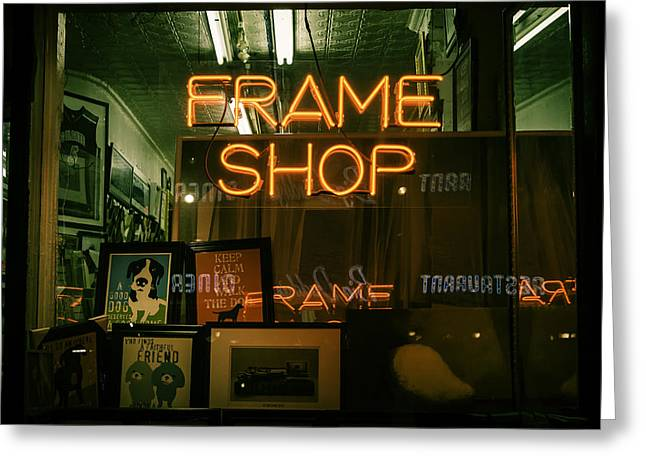 Store Fronts Greeting Cards - Frame Shop Green Greeting Card by Angel Zayas
