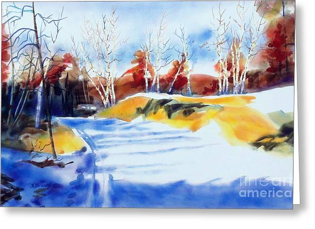 Rural Landscapes Mixed Media Greeting Cards - Framed in Gold II Greeting Card by Kathy Braud