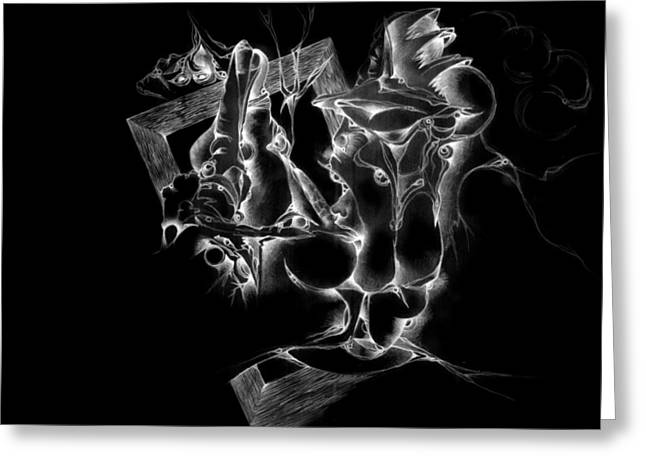 Graphite Digital Art Greeting Cards - Framed inverted Greeting Card by Bodhi