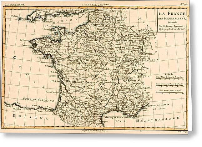France Map Greeting Cards - France by Regions Greeting Card by Guillaume Raynal