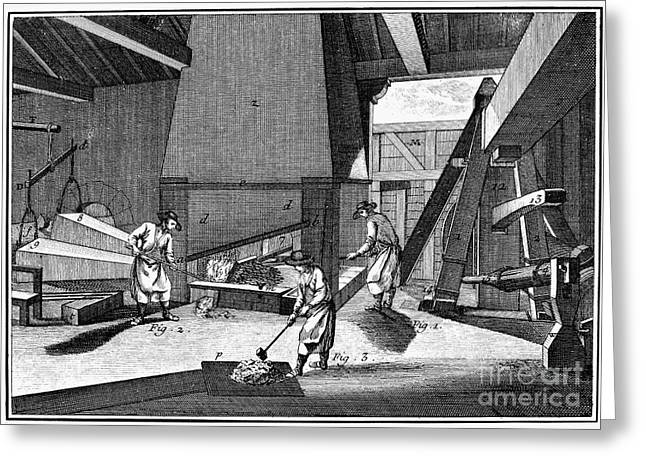 Ironworkers Greeting Cards - FRANCE: IRON FORGE, c1750 Greeting Card by Granger