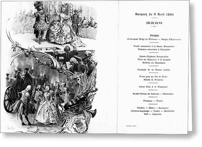 Argent Greeting Cards - France: Menu, 1900 Greeting Card by Granger