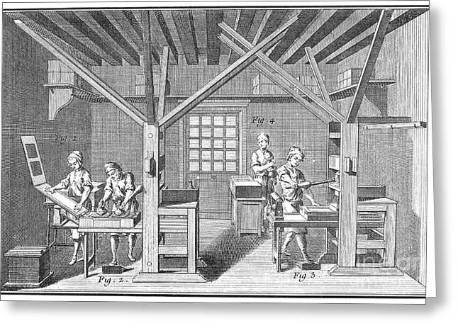 1751 Greeting Cards - France: Print Shop, 1751 Greeting Card by Granger