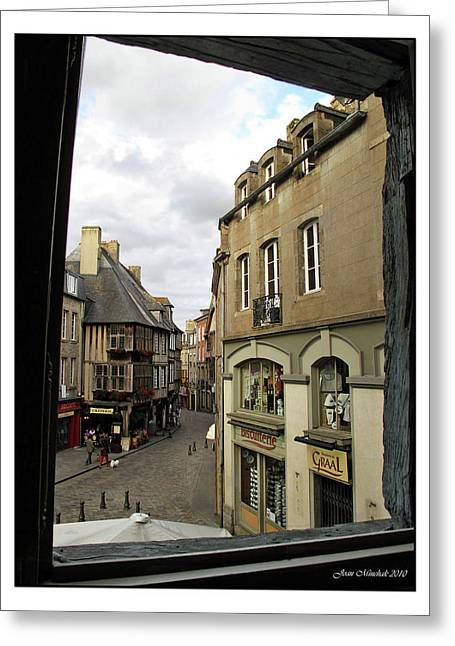 Historic Country Store Digital Art Greeting Cards - France thru a Window Greeting Card by Joan  Minchak