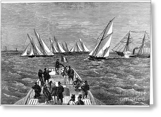1874 Greeting Cards - France: Yacht Race, 1874 Greeting Card by Granger
