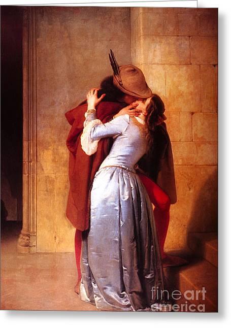 The Kiss Greeting Cards - Francesco Hayez Il Bacio or The Kiss Greeting Card by Pg Reproductions
