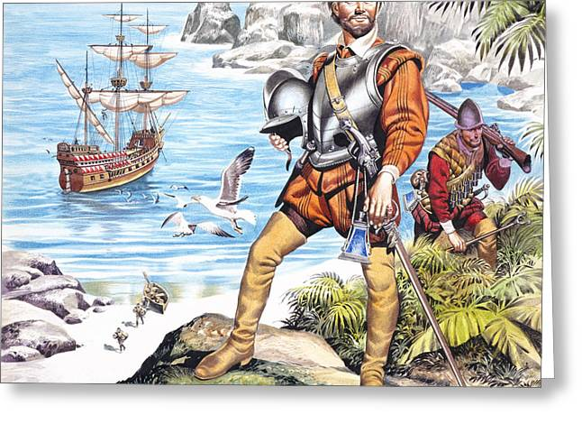 Francis Greeting Cards - Francis Drake and the Golden Hind Greeting Card by Ron Embleton