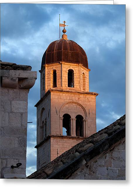 Medieval Temple Greeting Cards - Franciscan Monastery Tower at Sunset Greeting Card by Artur Bogacki