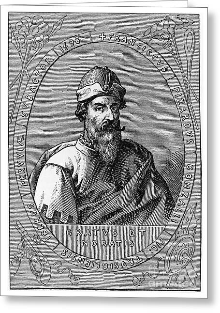 Francisco Pizarro, Spanish Conquistador Greeting Card by Photo Researchers