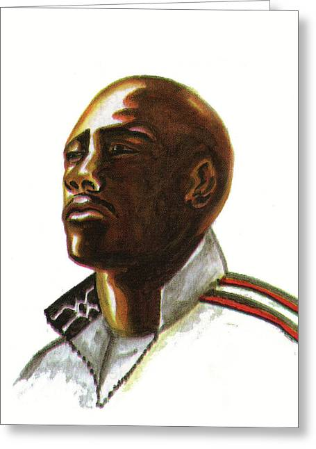 Franckie Fredericks Greeting Card by Emmanuel Baliyanga