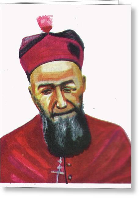 Saint Joseph Drawings Greeting Cards - Francois Xavier Vogt Greeting Card by Emmanuel Baliyanga