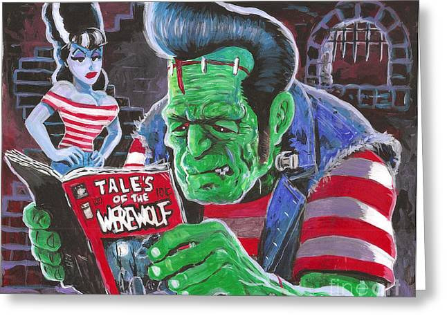 Universal Monsters Greeting Cards - Frank and Bride Greeting Card by Ben Von Strawn