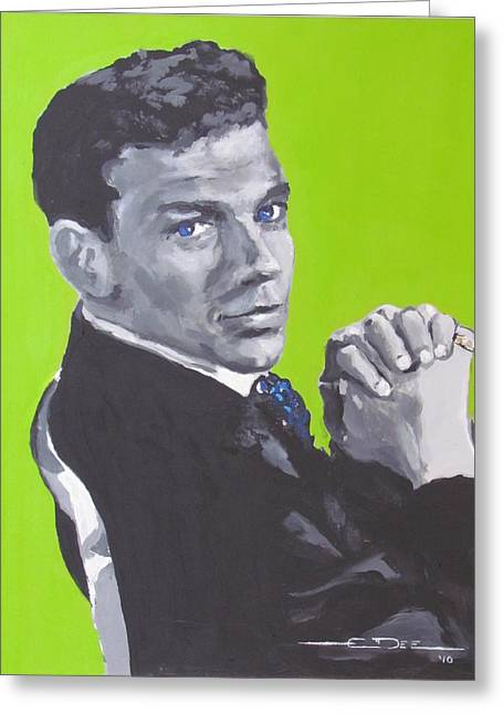 The Voice Greeting Cards - Frank Sinatra Blue Greeting Card by Eric Dee