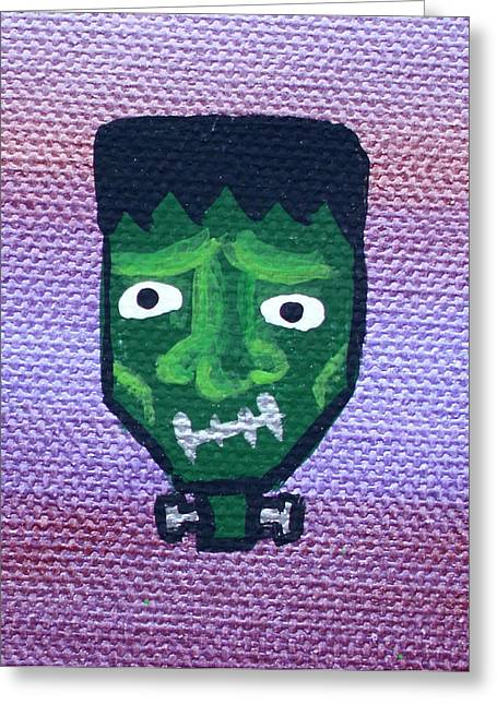 Character Portraits Paintings Greeting Cards - Frankenstein Greeting Card by Jera Sky