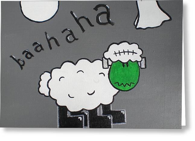Halloween Greeting Cards - Frankenstein Greeting Card by Sheep McTavish