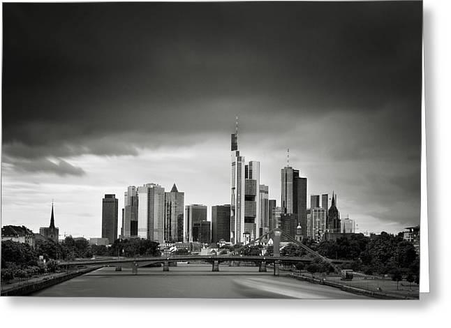 Deutschland Greeting Cards - Frankfurt Skyline Greeting Card by Nina Papiorek