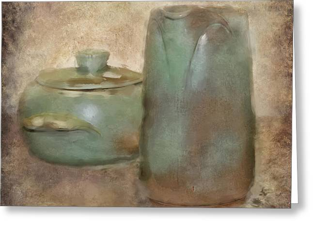 Pottery Pitcher Greeting Cards - Frankhoma Pottery Greeting Card by Betty LaRue