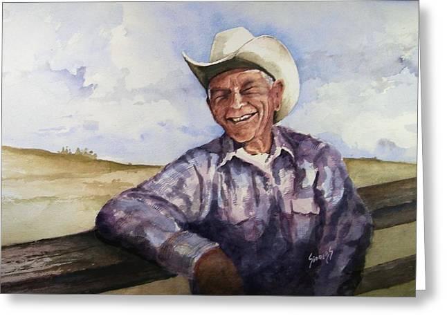 Cowboys Greeting Cards - Frankie Greeting Card by Sam Sidders