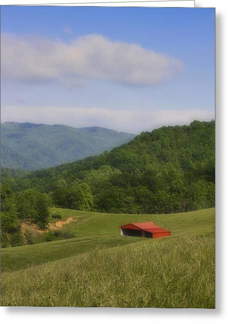 Country Shed Greeting Cards - Franklin County Virginia Red Barn Greeting Card by Teresa Mucha