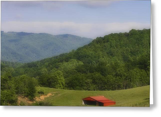 Franklin County Virginia Red Barn Greeting Card by Teresa Mucha