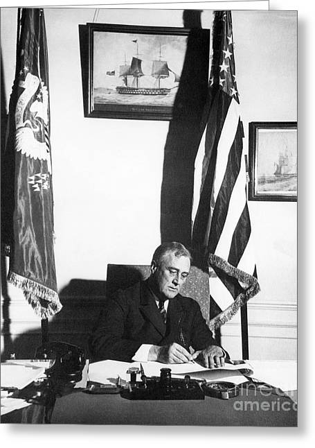 Franklin D. Greeting Cards - Franklin D. Roosevelt, 32nd American Greeting Card by Omikron
