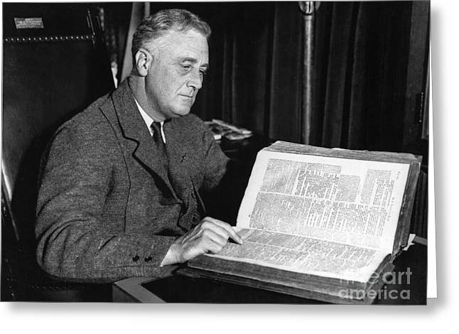 Franklin D. Greeting Cards - Franklin D. Roosevelt, 32nd American Greeting Card by Photo Researchers