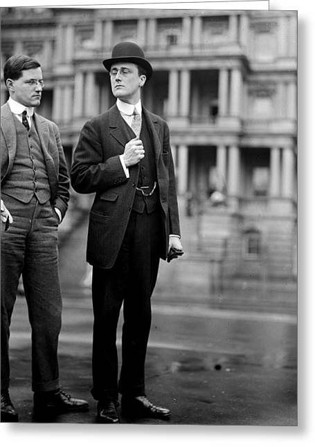 Franklin Roosevelt Greeting Cards - Franklin Delano Roosevelt as a young man - c 1913 Greeting Card by International  Images