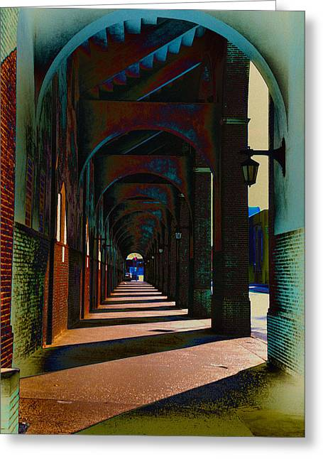 Franklin Digital Art Greeting Cards - Franklin Field Concourse Arch Greeting Card by Bill Cannon