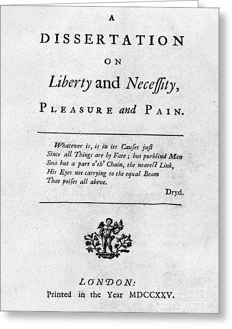 Title Page Greeting Cards - Franklin: Title Page, 1725 Greeting Card by Granger