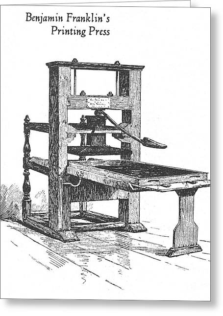 Franklin Press Greeting Cards - Franklins Printing Press Greeting Card by Granger
