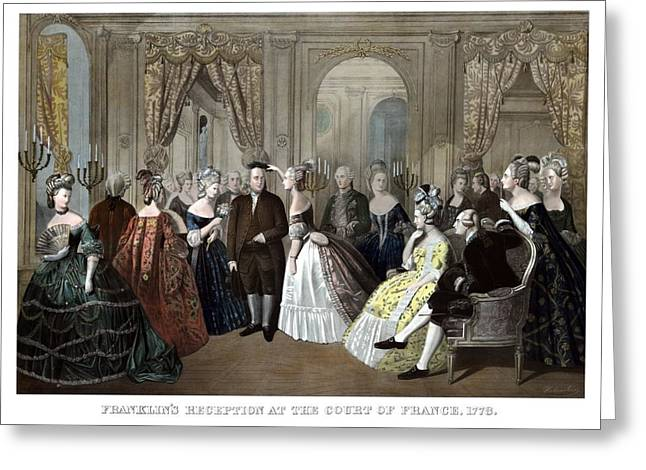 Us Founding Father Greeting Cards - Franklins Reception At The Court Of France Greeting Card by War Is Hell Store