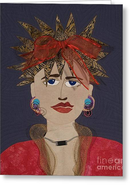 Face Tapestries - Textiles Greeting Cards - Frazzled Greeting Card by Carol Ann Waugh