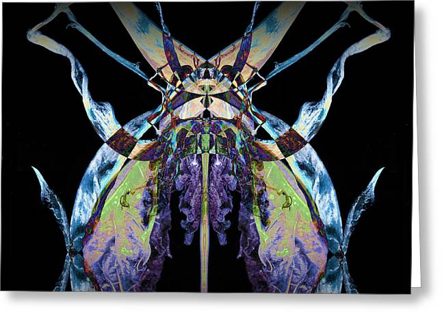 Vivid Colour Greeting Cards - Freaky Bug Plant Greeting Card by David Kleinsasser