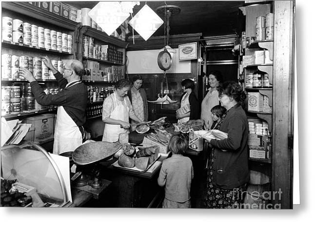 Grocery Store Greeting Cards - Fred Grovers Grocery Store Greeting Card by Photo Researchers