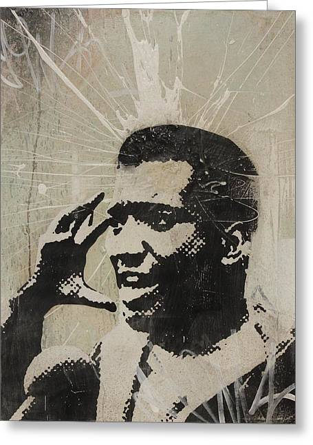 Grafitti Mixed Media Greeting Cards - Fred Hampton Greeting Card by Dustin Spagnola