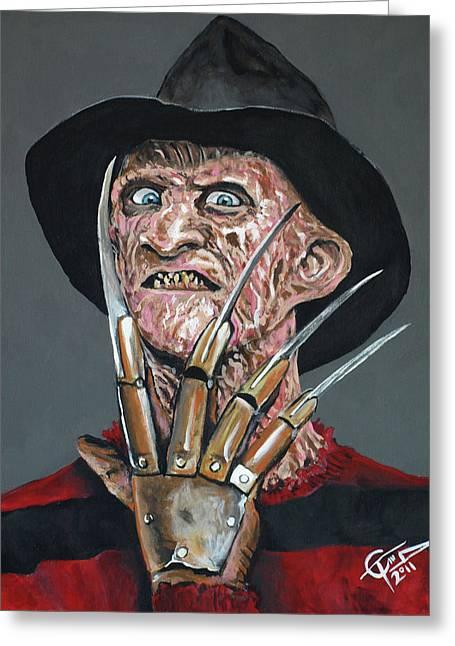 Freddy Kruger Greeting Cards - Freddy Kruger Greeting Card by Tom Carlton