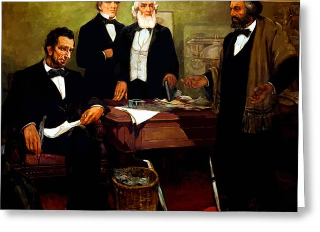 Abraham Paintings Greeting Cards - Frederick Douglass appealing to President Lincoln Greeting Card by War Is Hell Store