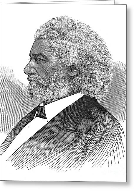 Frederick Douglass Greeting Cards - FREDERICK DOUGLASS (c1817-1895). American abolitionist. Wood engraving, American, 1877 Greeting Card by Granger