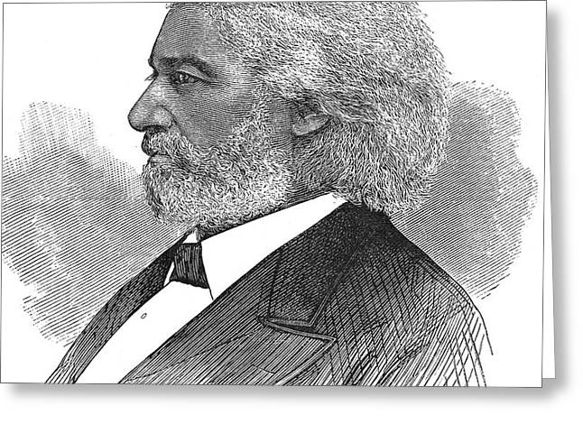 FREDERICK DOUGLASS (c1817-1895). American abolitionist. Wood engraving, American, 1877 Greeting Card by Granger