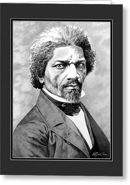 Frederick Douglass Greeting Cards - Frederick Douglass with digital mat Greeting Card by Elizabeth Scism