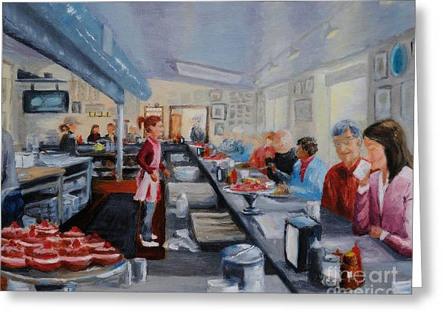 Waitress Greeting Cards - Freds Breakfast of New Hope Greeting Card by Cindy Roesinger