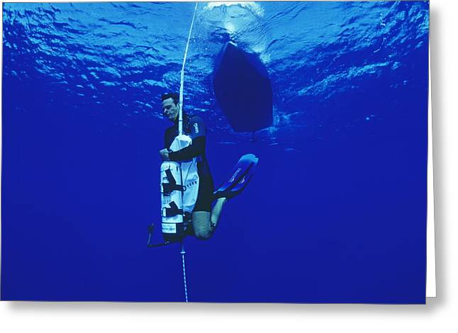Sporting Equipment Greeting Cards - Free-diving Training Greeting Card by Alexis Rosenfeld