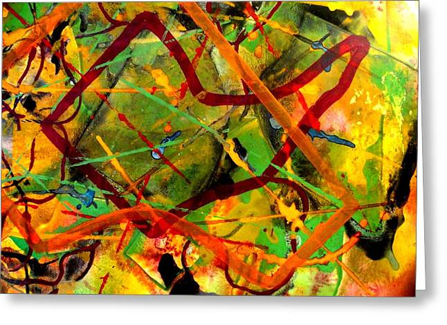 Abstract Poster Greeting Cards - Free Fall Greeting Card by John  Nolan