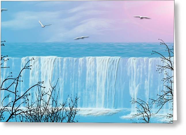 Blue Pastels Greeting Cards - Free Falling Greeting Card by Evelyn Patrick