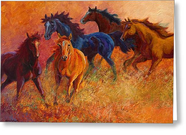 Horses Paintings Greeting Cards - Free Range - Wild Horses Greeting Card by Marion Rose