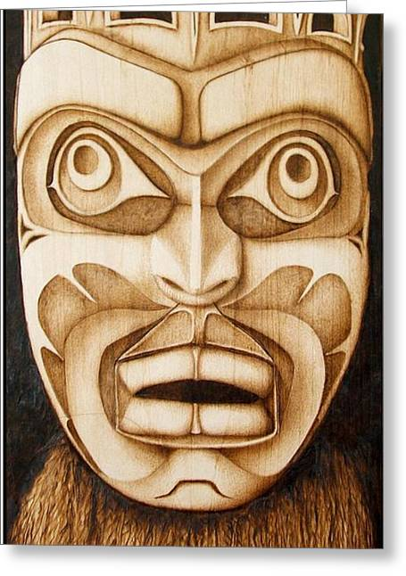 Pacific Northwest Pyrography Greeting Cards - Free Spirit Mask Greeting Card by Cynthia Adams