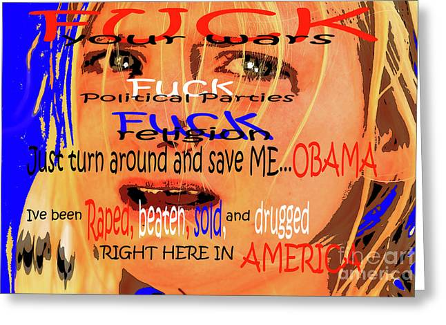 Obama Children Greeting Cards - Free Us Children King Greeting Card by Tbone Oliver
